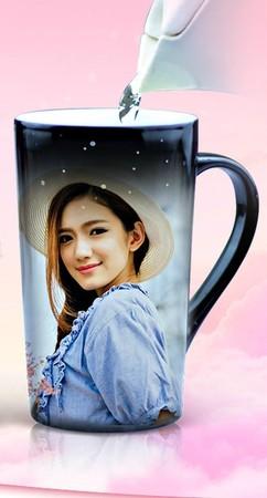 定制变色杯子印照相片带盖创意情侣礼物品陶瓷diy大马克杯图中图