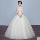 婚纱礼服 新款韩式新娘双肩齐地V领婚纱香槟色大码修身夏季