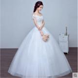 婚纱礼服新款韩式一字肩齐地新娘婚纱镶钻大码修身显瘦春夏季
