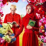 穆斯林婚纱新款红色回族婚礼礼服影楼摄影主题服装写真