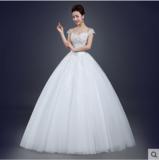 婚纱礼服新款简约一字肩双肩齐地新娘婚纱大码显瘦修身春夏季