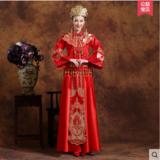 龙凤褂 新款新娘红色结婚嫁衣敬酒服中式复古改良旗袍秀和服